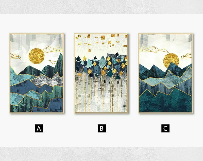 Nordic Abstract Geometric Mountain Landscape Wall Art-oosmdeals