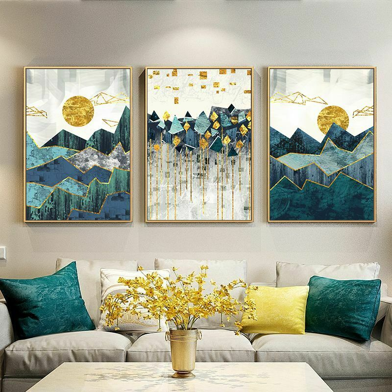 Nordic Abstract Geometric Mountain Landscape Wall Art Golden Sun Art Poster - wall art