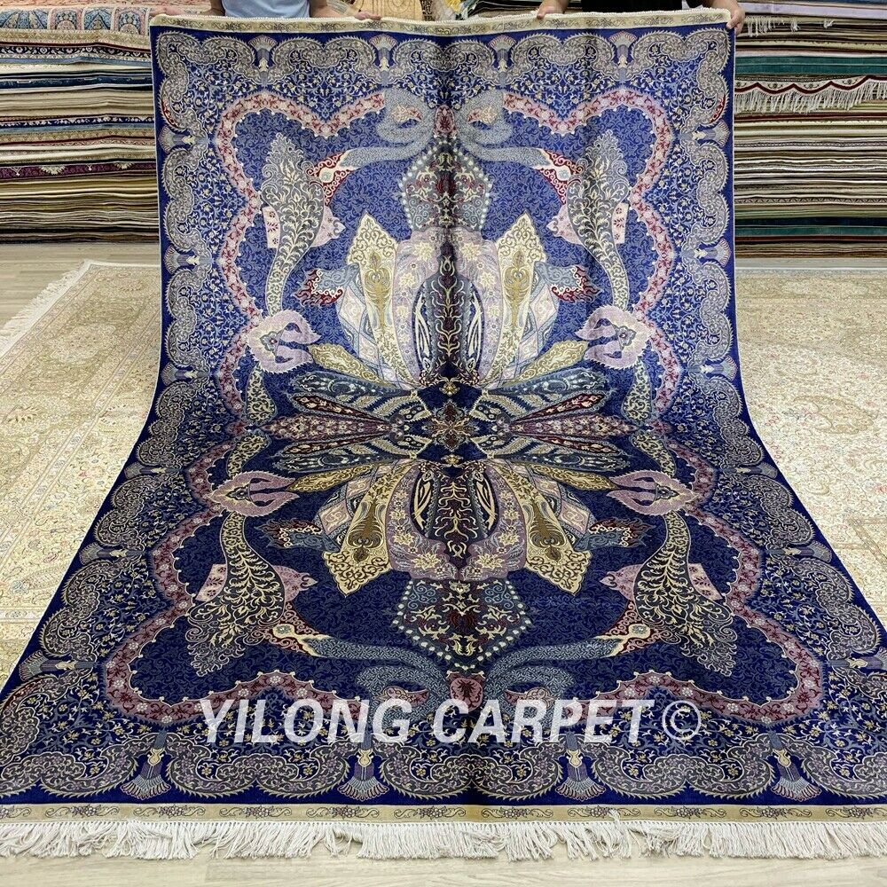 Yilong 6.56'x9.84' Purple Hand Knotted Silk Carpet Floral Handmade Area Rug 271A-oosmdeals
