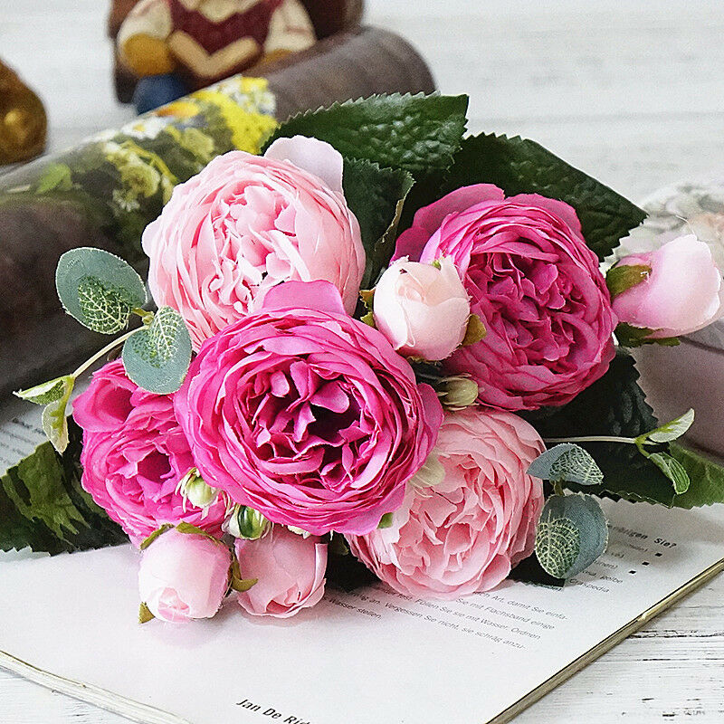 9 Heads Silk Rose Artificial Flowers Fake Bouquet Buch - home and decor-oosmdeals