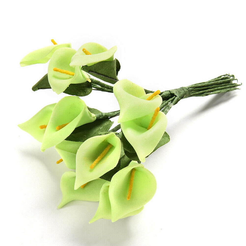 12Pcs Solid Foam Calla Lily Artificial Flower Bouquet Scrapbook Home Decoration