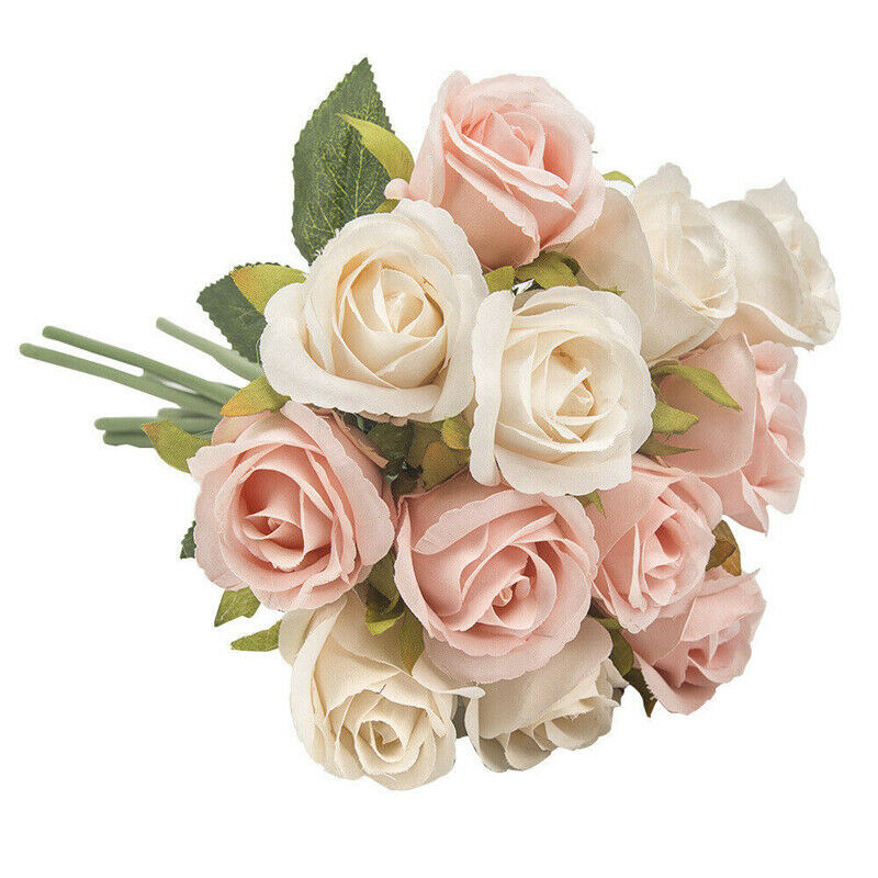 13 Head Artificial Rose Bouquet Silk Fake Flowers Leaf Wedding Party Home Decor