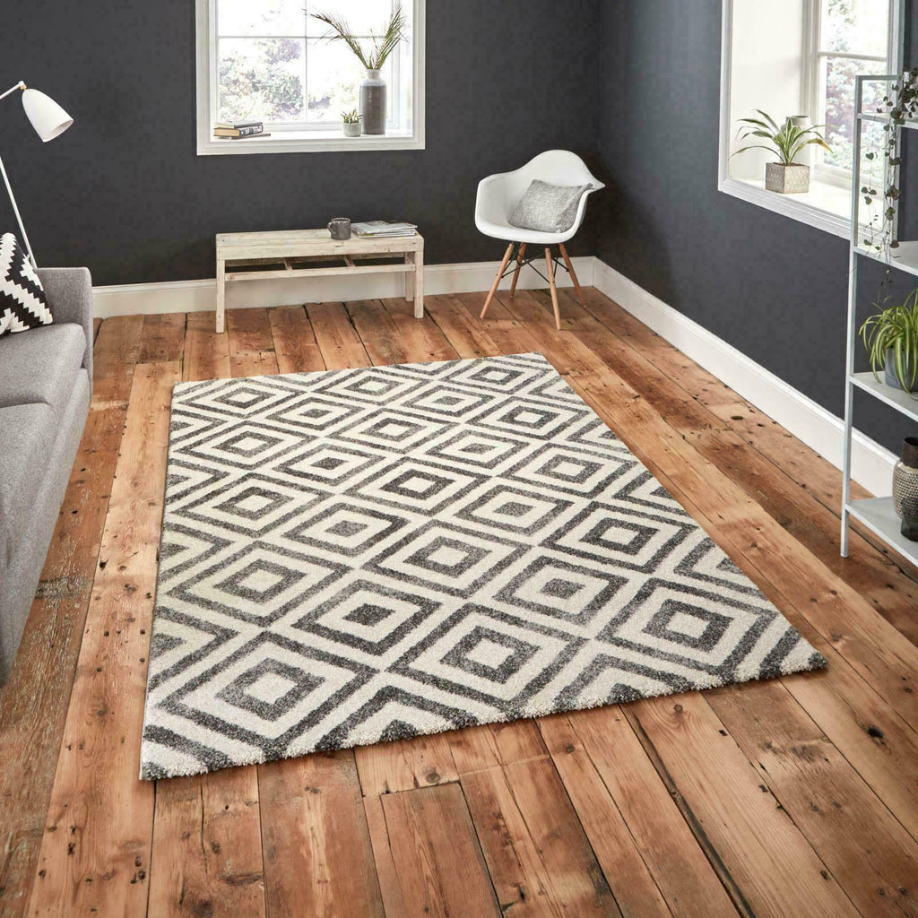 Thick Living Room Geometric Design Elegant Rugs in Grey & White 120cm x 170cm-oosmdeals