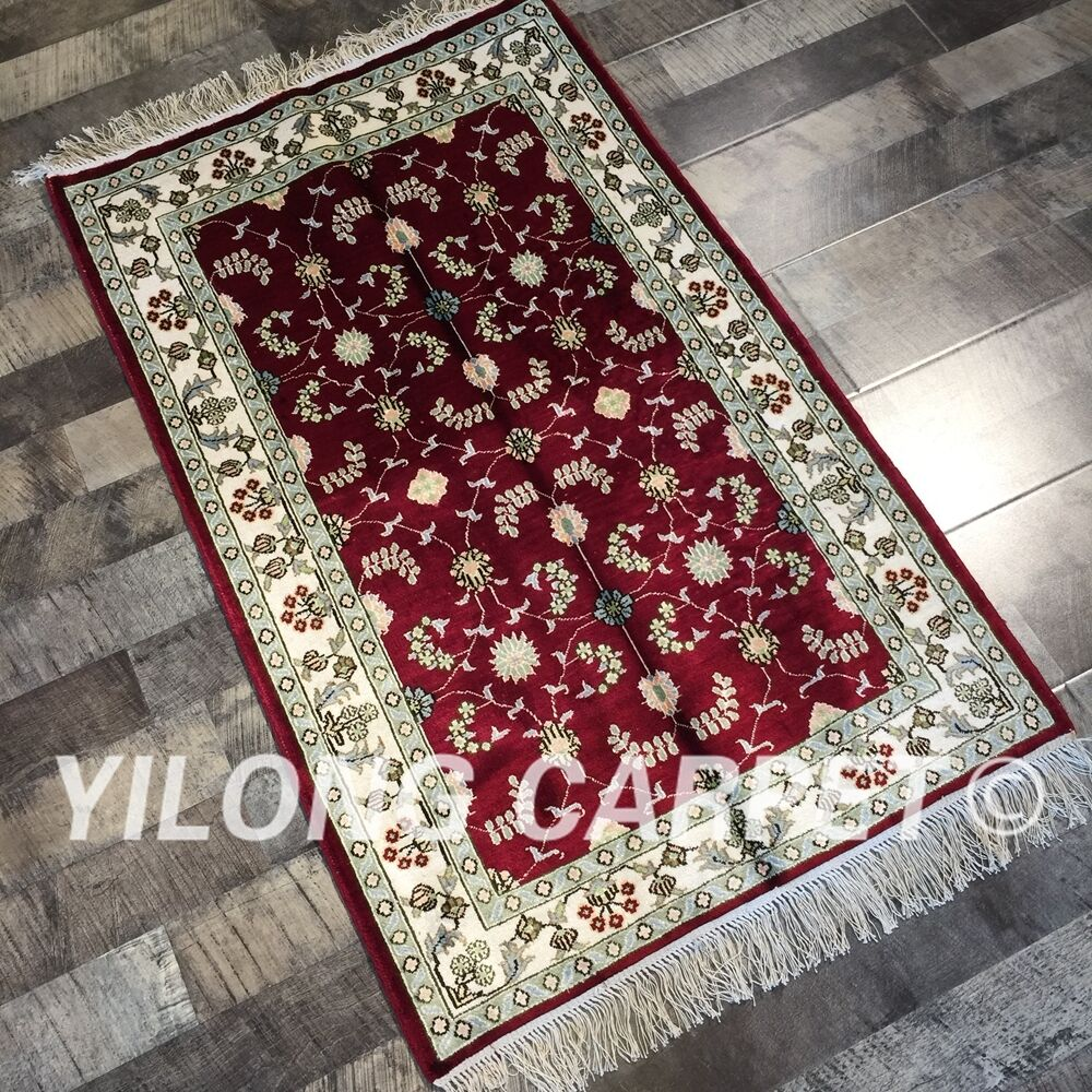 Yilong 2.5'x4' Red Hand Knotted Silk Carpets All Over Handmade Area Rug W219C-oosmdeals