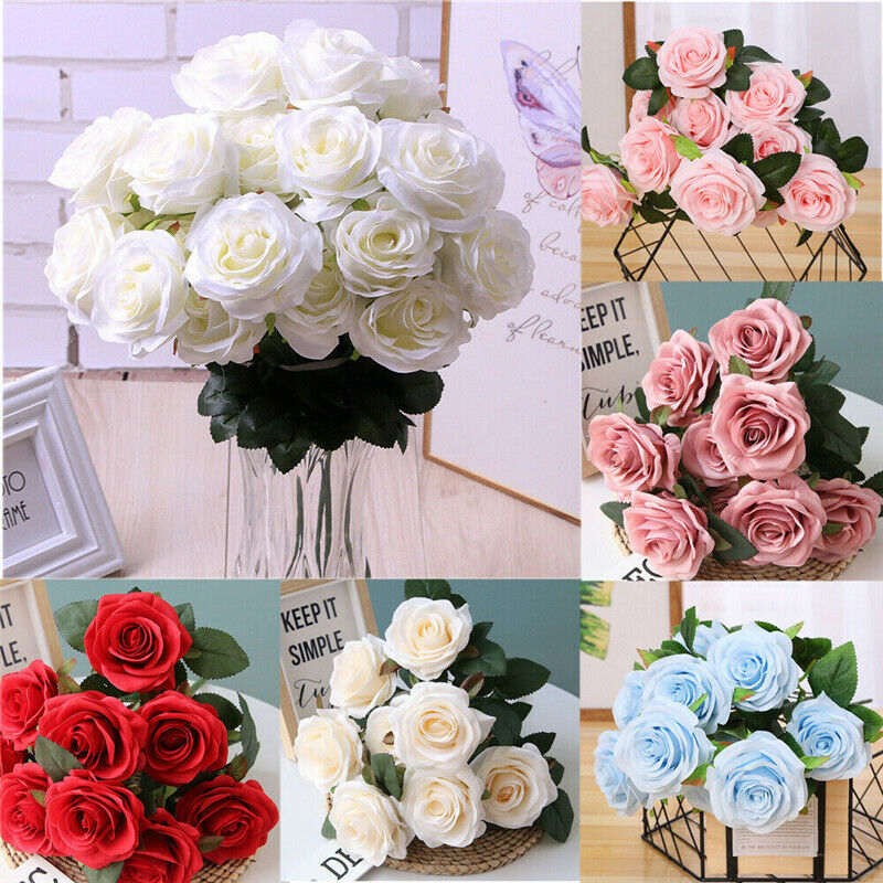 13 Head Artificial Rose Bouquet Silk Fake Flowers Leaf Wedding Party Home Decor - home and decor