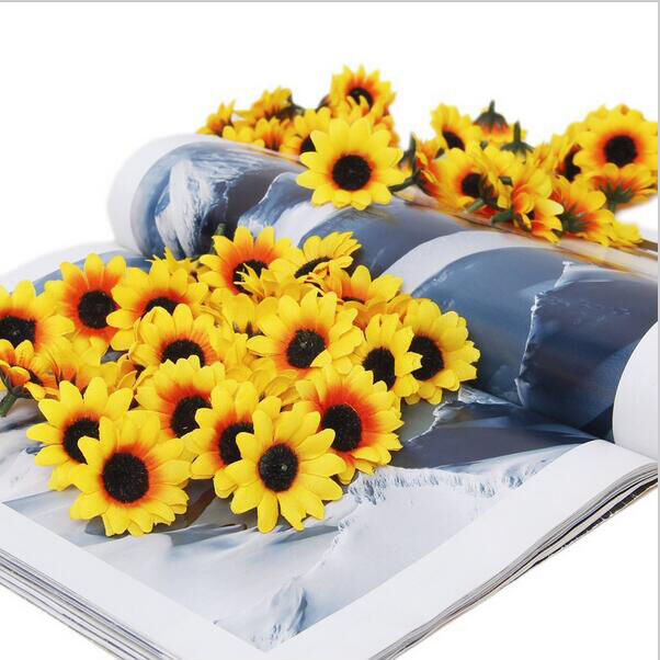 Lifelike Artificial Plastics 100X  | Yellow Sunflower Heads - home and decor