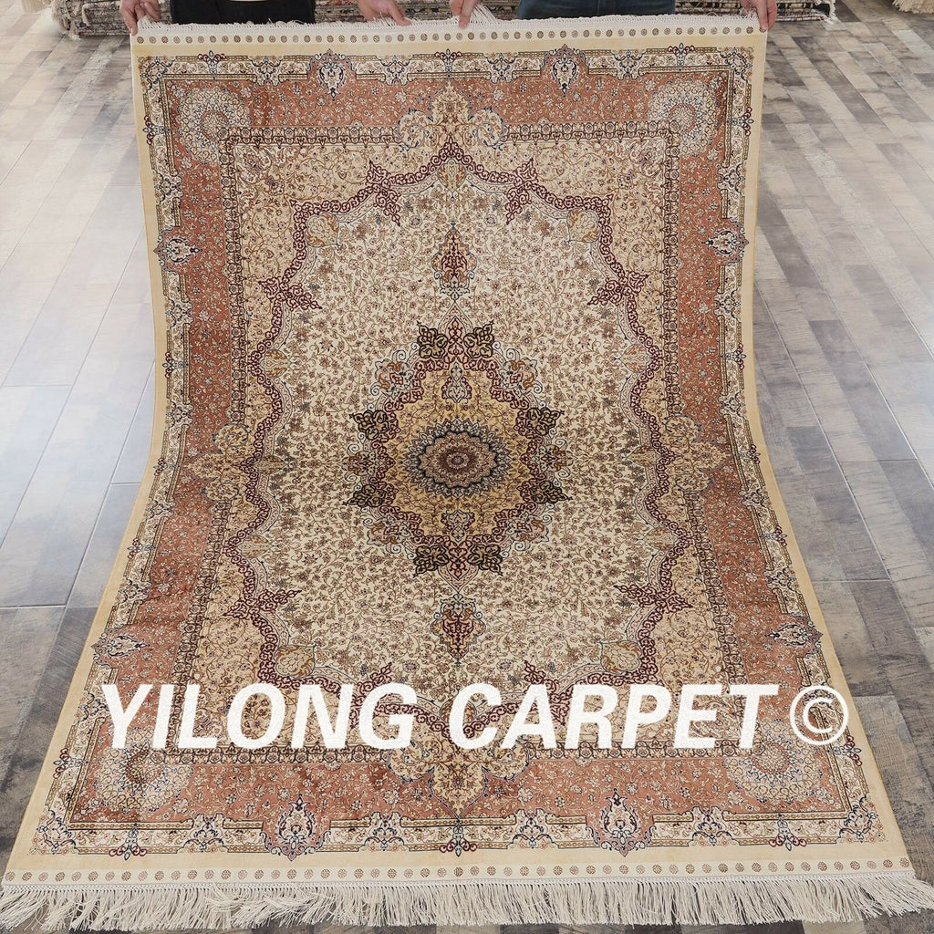 Yilong 5'x7' Floral hand knotted Classic Rug Bedroom-oosmdeals