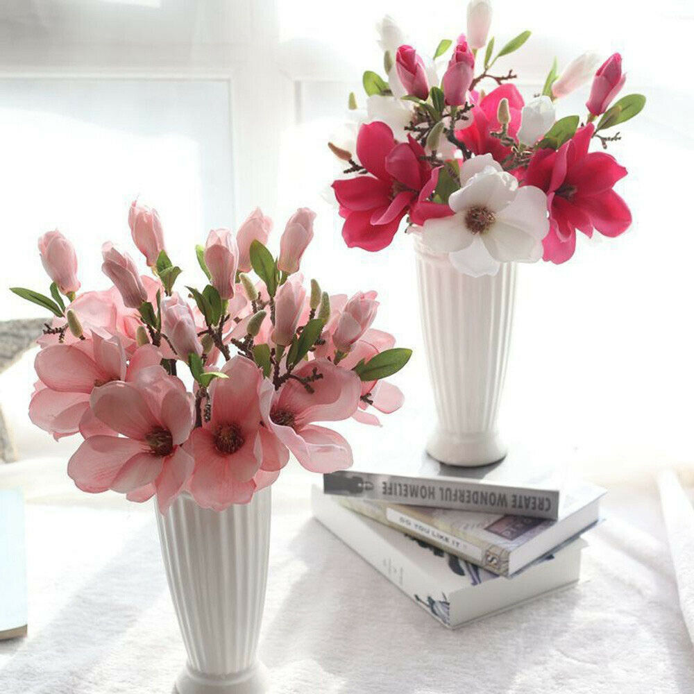 Artificial Magnolia Floral Silk Flowers Leaf Floral Wedding Bouquet Home Decor