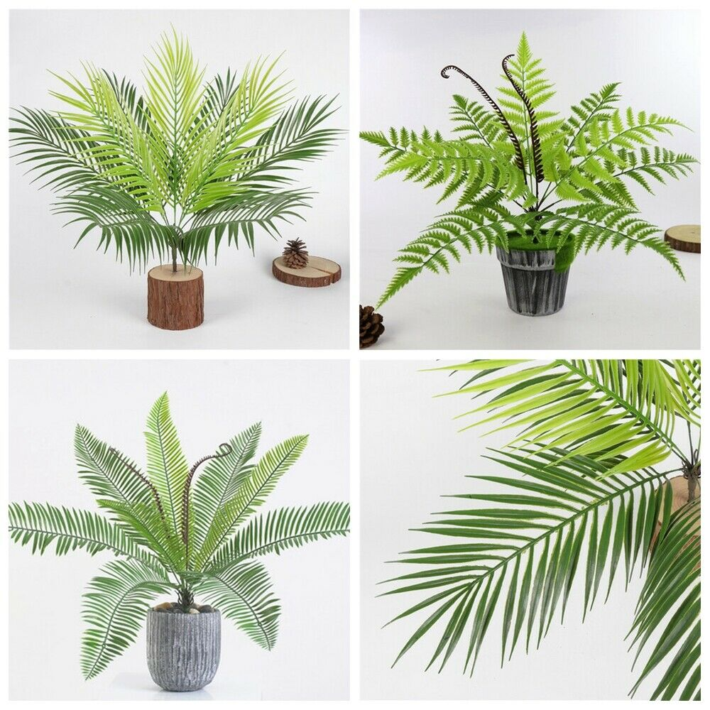 9 Heads Bouquet Artificial Fern Palm LeavesFake Plastic Green Plants Home Decor - home and decor