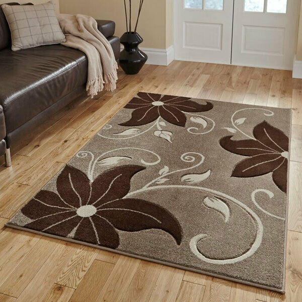 Think Rugs Verona OC15 Hand Carved Rug BEIGE BROWN - home and decor