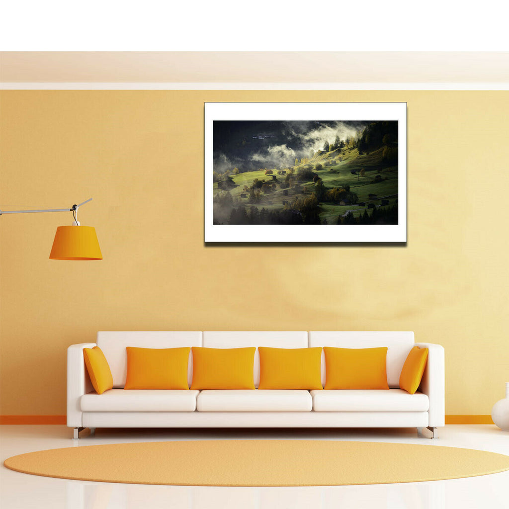 Autumn Village Canvas Art Painting Poster Living Room Picture Wall Decor Gift - wall art