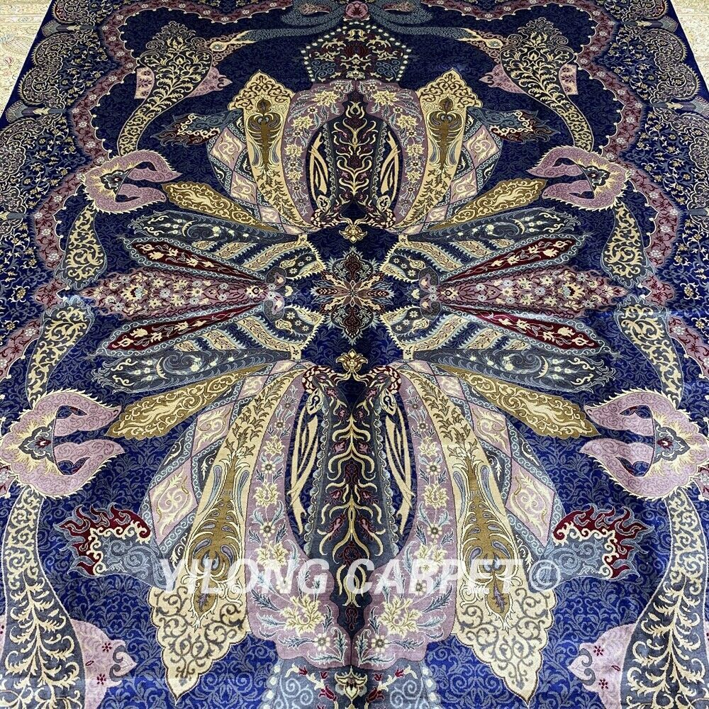 Yilong 6.56'x9.84' Purple Hand Knotted Silk Carpet Floral Handmade Area Rug 271A