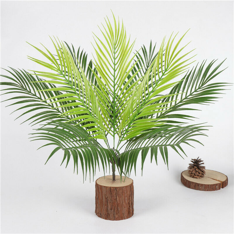 9 Heads Bouquet Artificial Fern Palm LeavesFake Plastic Green Plants - home and decor