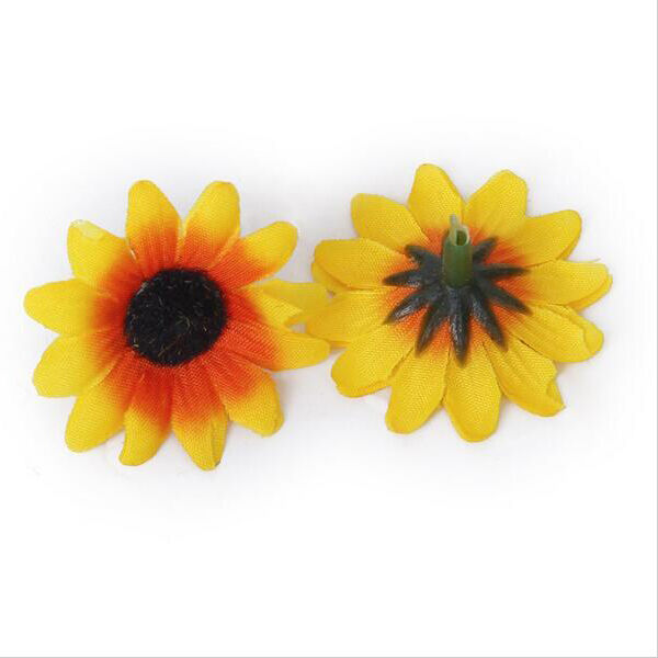 100X Lifelike Artificial Plastics Yellow Sunflower Heads Home Party Decorations