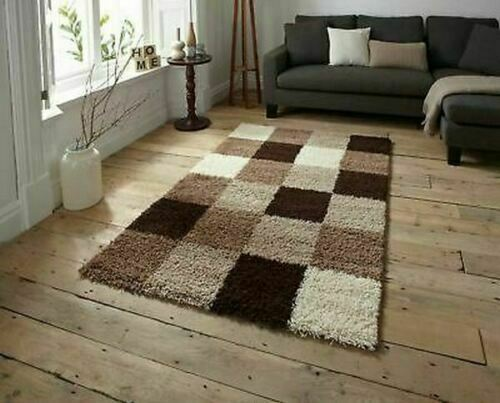 Modern Living Room Check Carpet Shaggy Rugs Beige Brown - home and decor