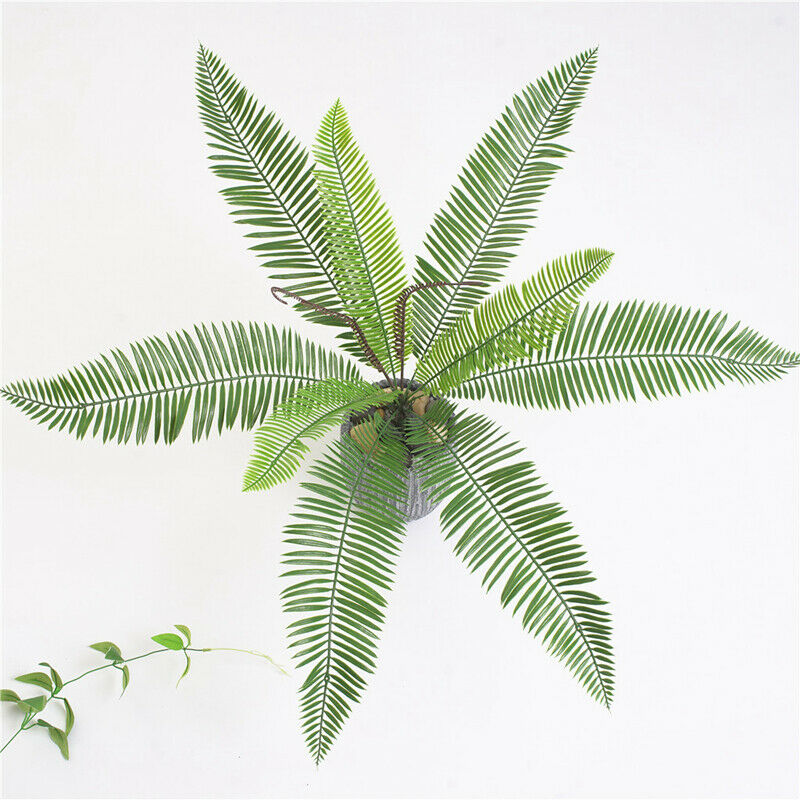 9 Heads Bouquet Artificial Fern Palm LeavesFake Plastic Green Plants Home Decor