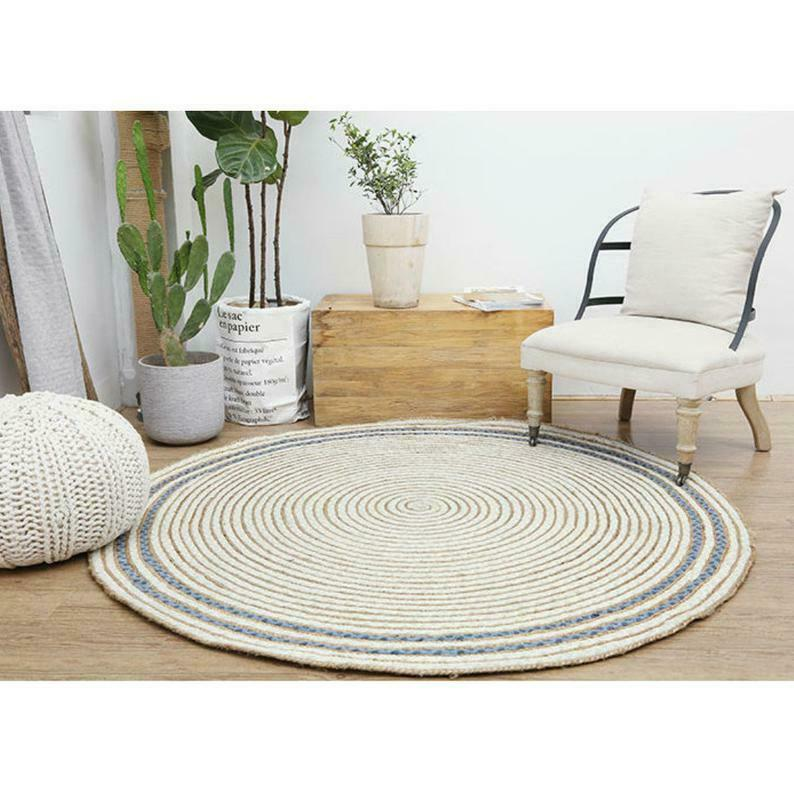 Natural Rugs Braided Jute Strip Reversible Jute & Cotton & Denim Area Rug Floor Mat - home and decor