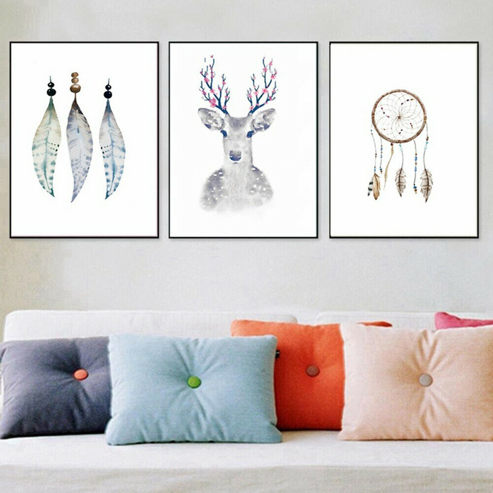 Abstract Dream Catcher Painting Canvas Elk Poster Wall Art Home Decor