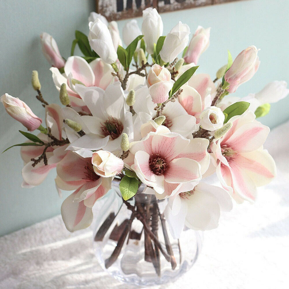 Artificial Magnolia Floral Silk Flowers Leaf Floral Wedding Bouquet Home Decor - home and decor