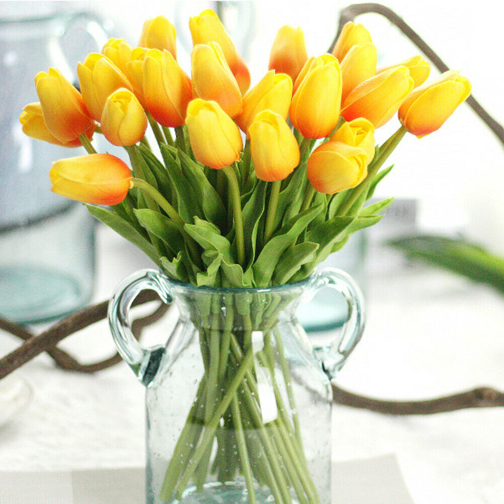 Artificial Tulip Flowers PU Mini Tulip Real Touch for Home Wedding Decoration - home and decor-oosmdeals
