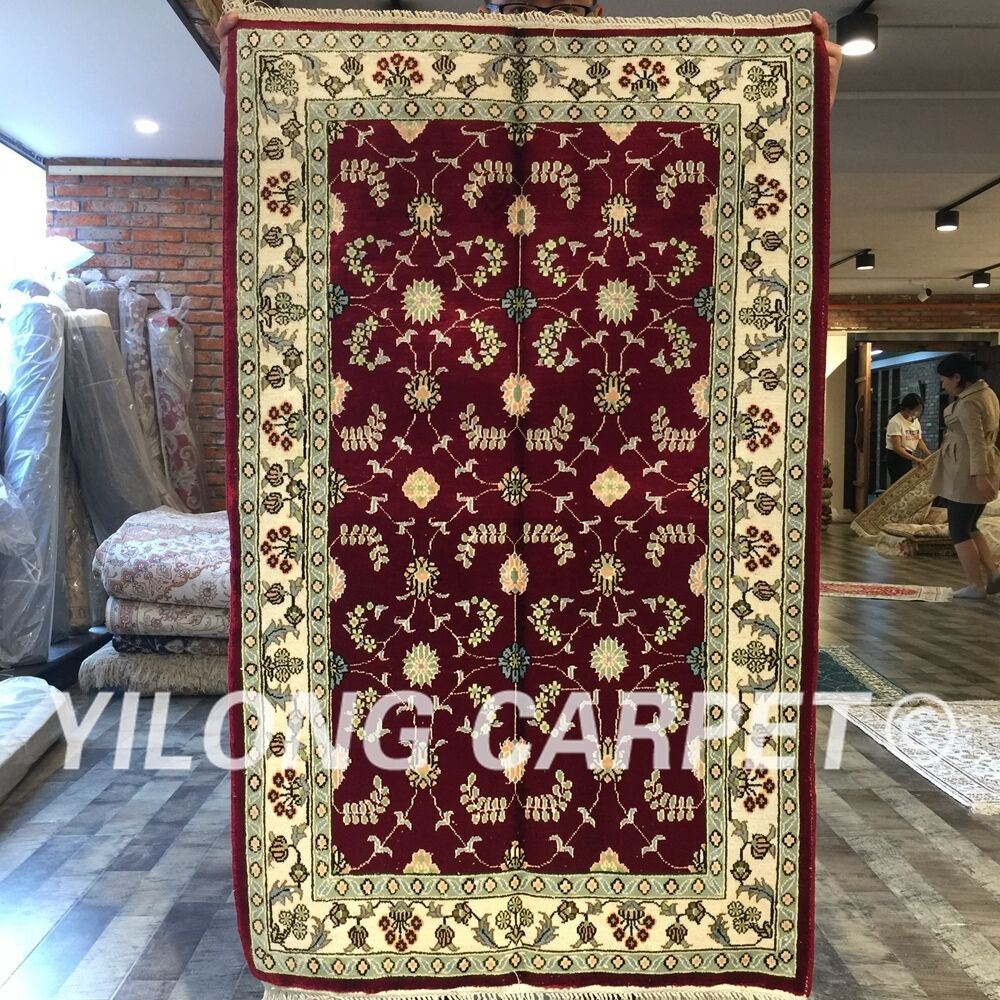 Yilong 2.5'x4' Red Hand Knotted Silk Carpets All Over Handmade Area Rug W219C