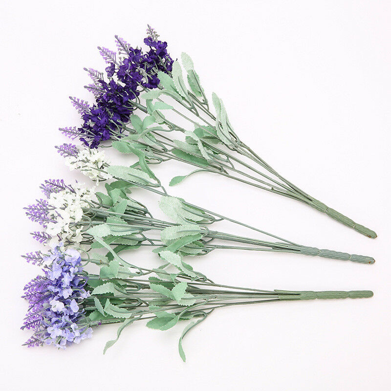 10 Heads Lavender Bouquet Artificial Silk Fake Flowers Wedding Home Party Decor