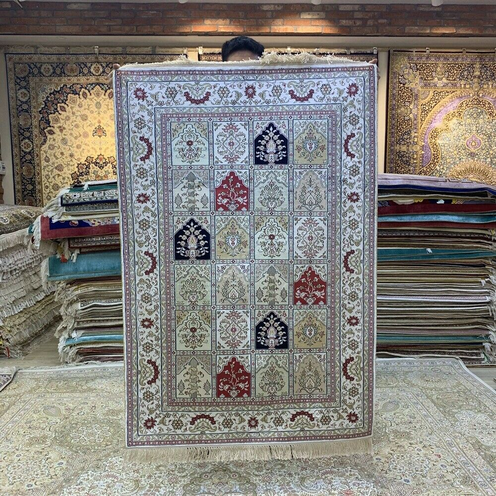 Yilong 3'x5' Four Seasons Hand Knotted Silk Rug Porch Home Interior Carpet 227B-oosmdeals