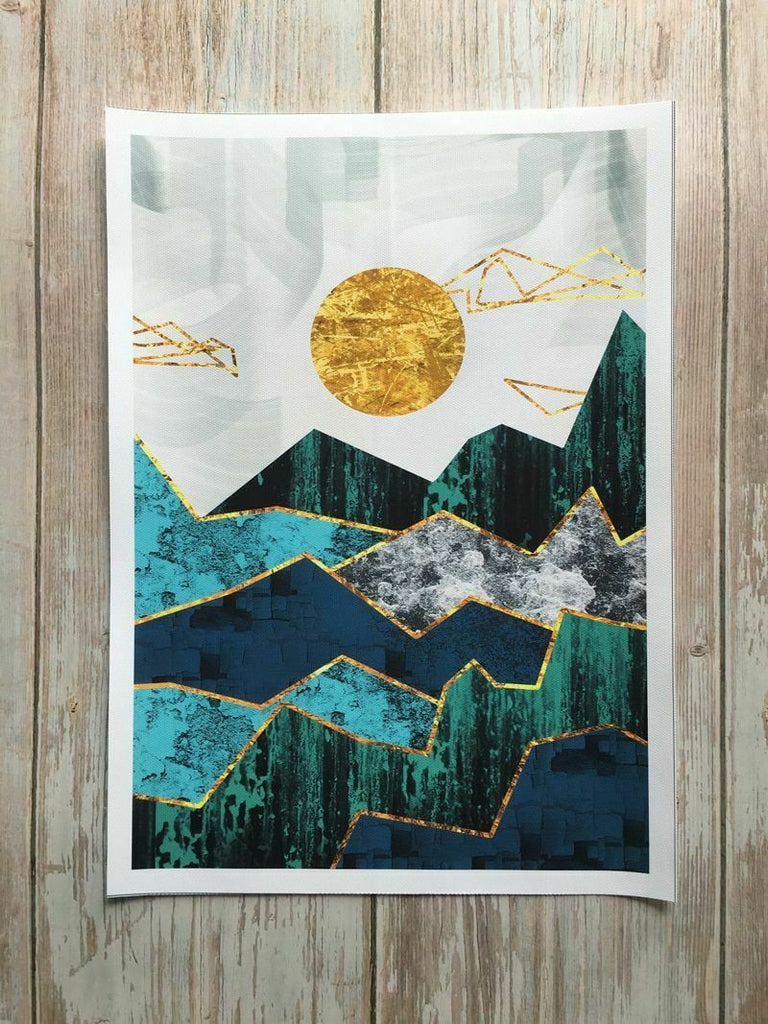 Nordic Abstract Geometric Mountain Landscape Wall Art Golden Sun Art Poster