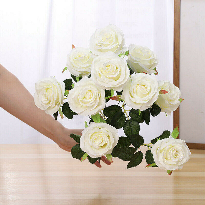 13 Head Artificial Rose Bouquet Silk Fake Flowers Leaf - home and decor