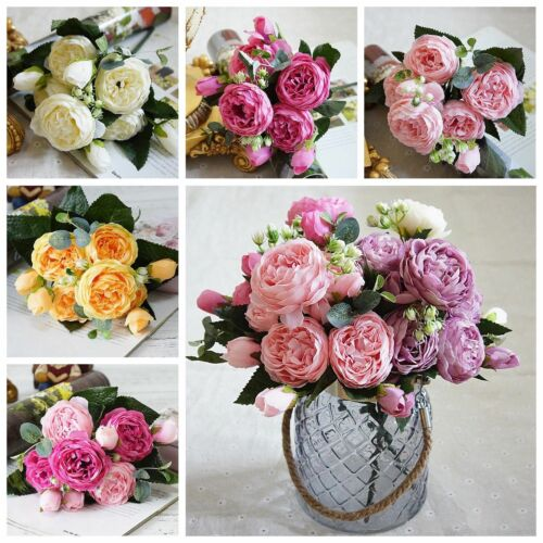 9 Heads Silk Rose Artificial Flowers Fake Bouquet Buch Wedding Home Party Decor - home and decor