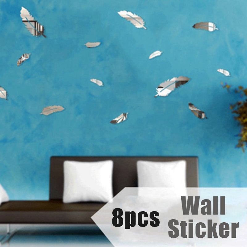 8pcs feather 3d mirror wall stickers home decor art decal wall stickers for kids room - wall art-oosmdeals