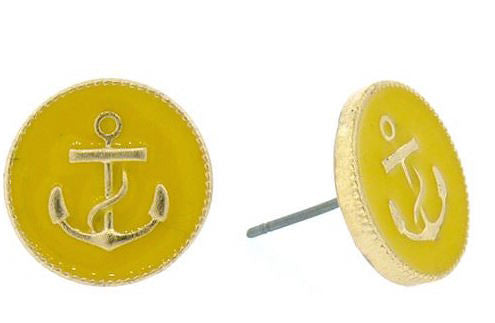 YELLOW ANCHOR STUDS by Jewelry from THE LUCKY KNOT - 1