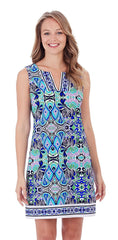 Jude Connally Carissa Dress In Mod Mosaic Blue