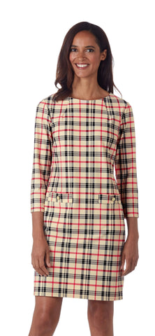 Jude Connally Sabine Dress - Fall Tartan Camel