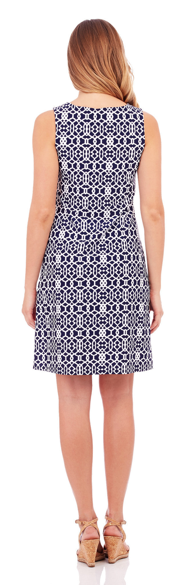 Jude Connally Beth Dress in Lattice Geo Navy