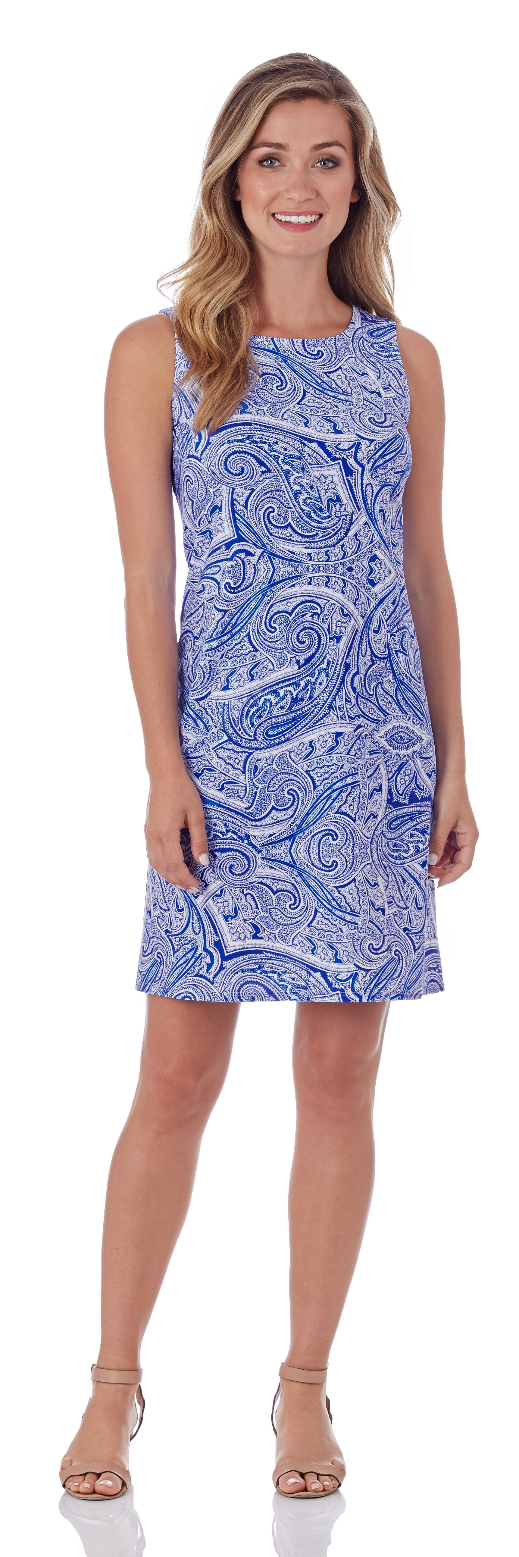 Jude Connally Beth Dress in Tonal Paisley Sapphire