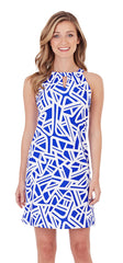 Jude Connally Lisa Dress In Abstract Geo Cobalt