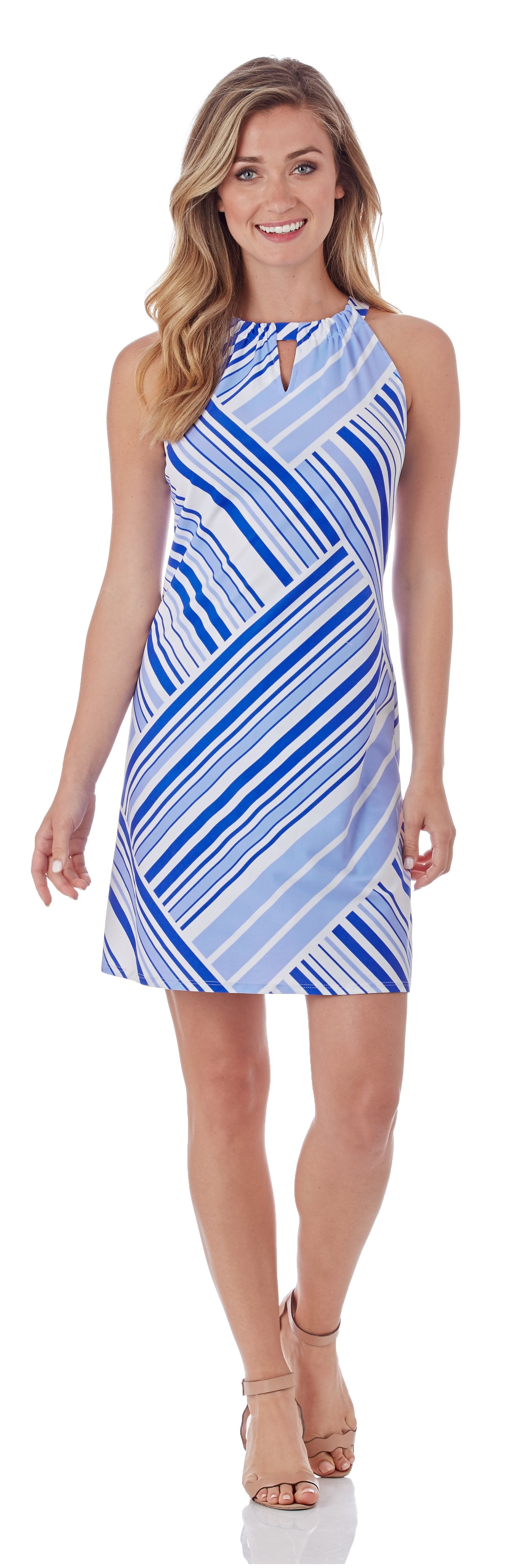 Jude Connally Lisa Dress in Patchwork Stripe Sapphire