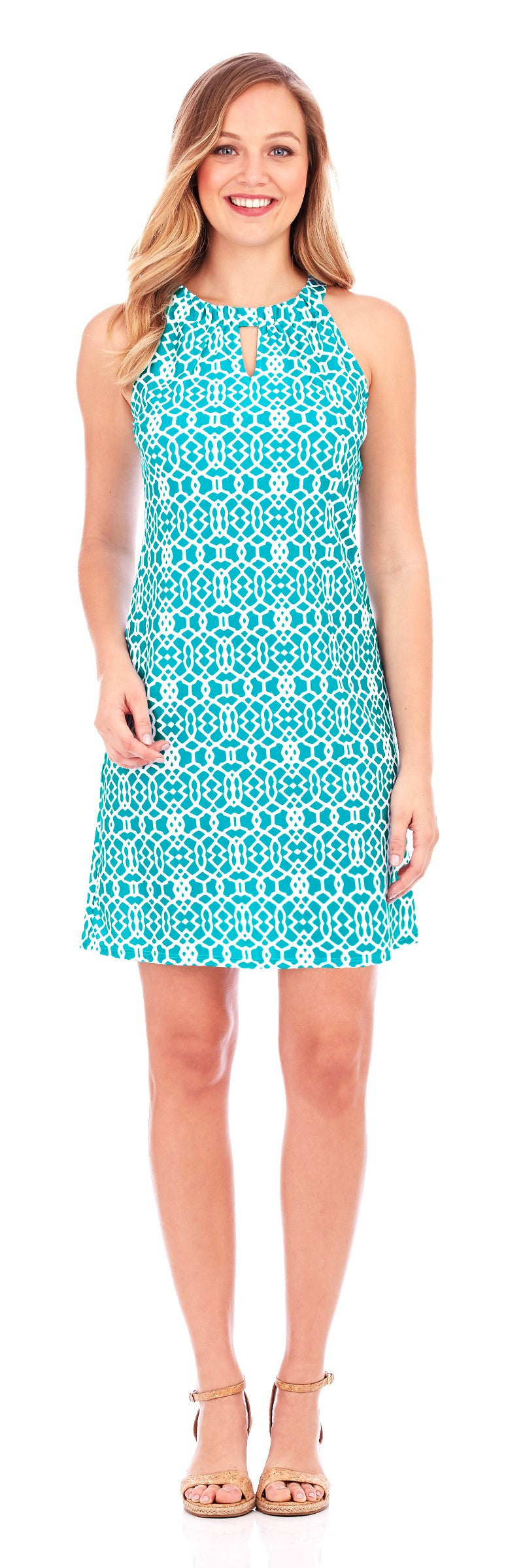 Jude Connally Lisa Dress In Lattice Geo Turquoise