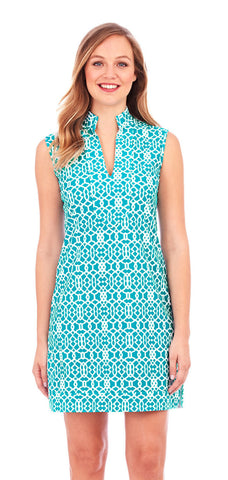 Jude Connally Kristen Dress In Lattice Geo Turquoise