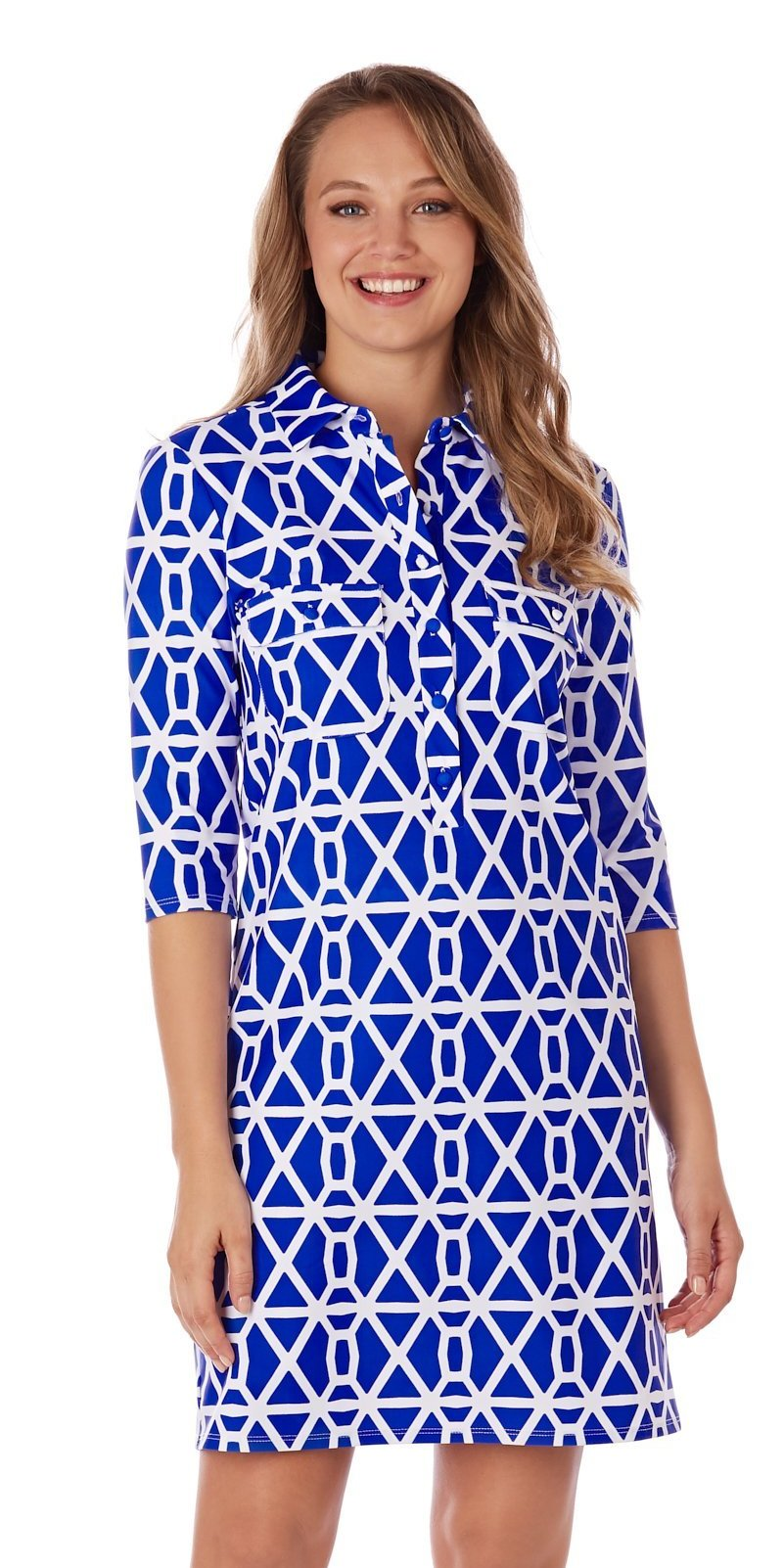 Jude Connally Sloane Dress - Chain Geo Cobalt