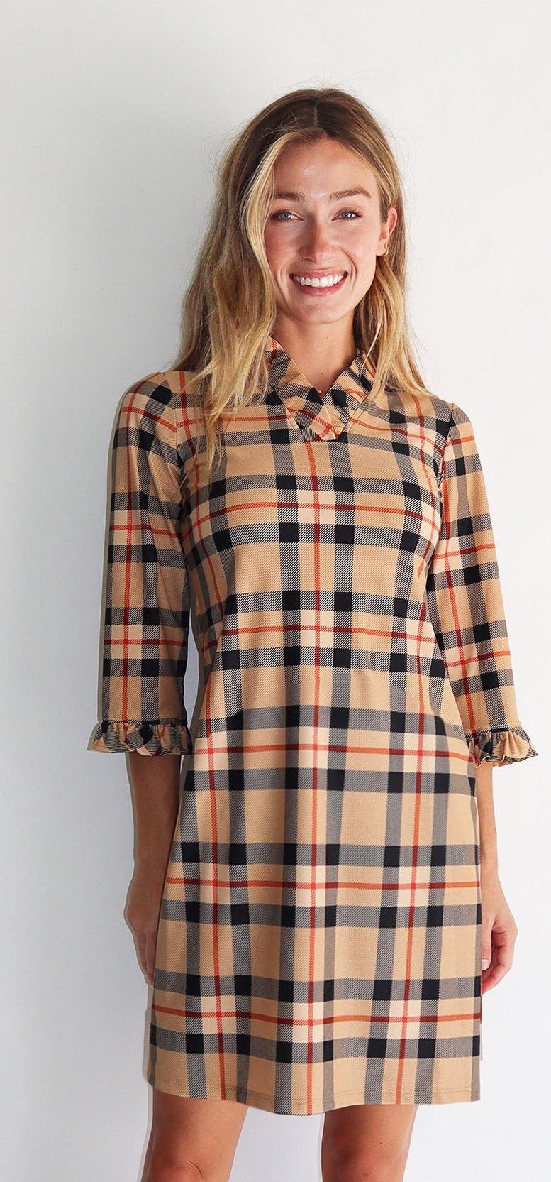 Jude Connally Catalina Dress - Tartan Camel Tangerine