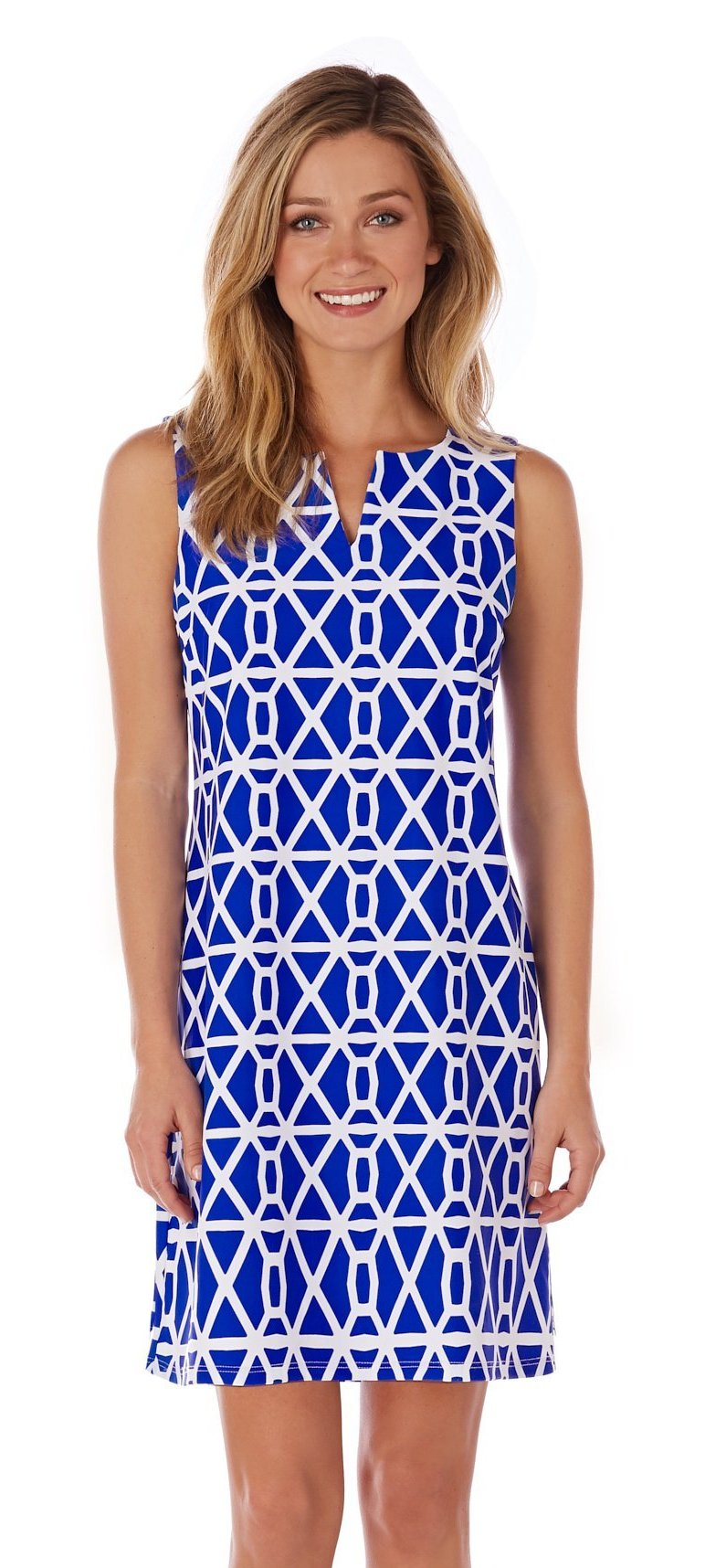Jude Connally Carissa Dress - Chain Geo Cobalt