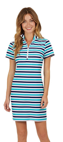 Jude Connally Alexia Dress - Tonal Stripe Navy/Teal