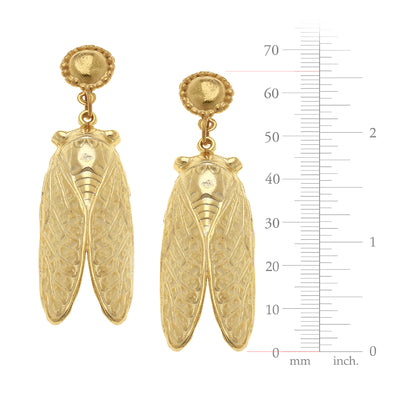 Susan Shaw Handcast Gold Cab & Cicada Earrings