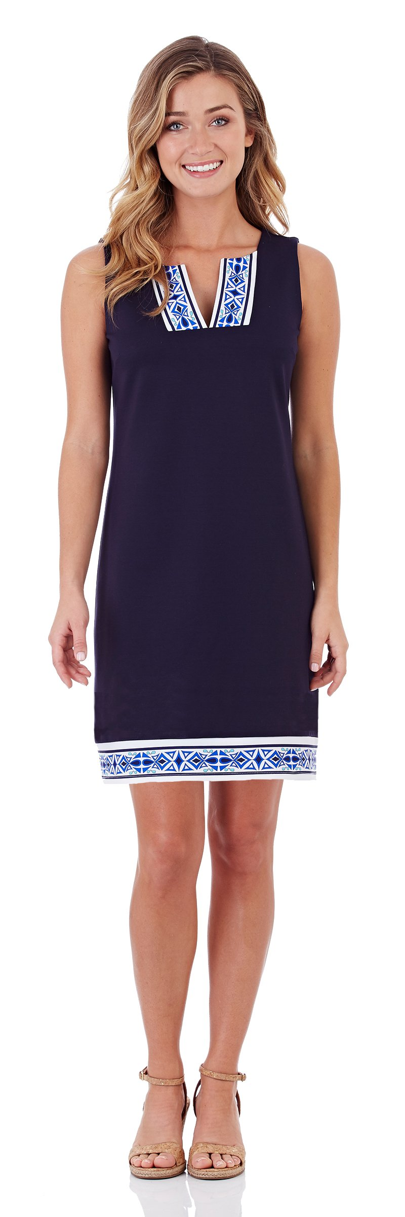 Jude Connally Carissa Ponte Shift Dress In Dark Navy Mod Border