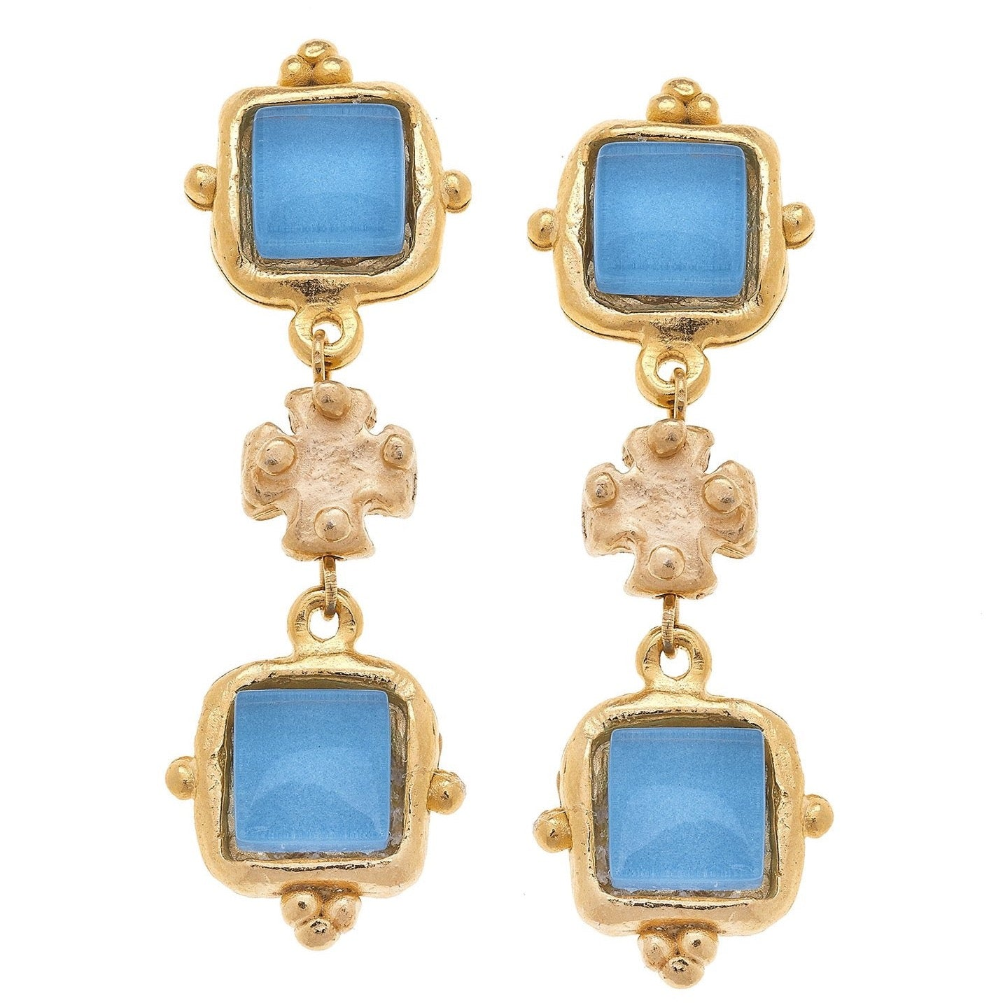 Susan Shaw Charlotte Deux Tier Earrings in Parisian Blue