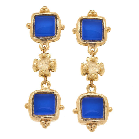 Susan Shaw Charlotte Deux Tier Earrings in Classic Blue