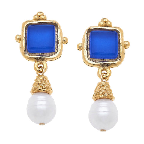 Susan Shaw Charlotte Mini Drop Earrings in Classic Blue