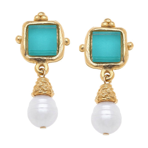 Susan Shaw Charlotte Mini Drop Earrings in Riviera Teal